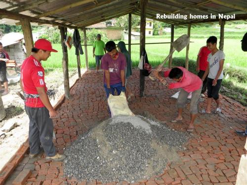 2015.07.19 mixing sand, stone and cement  for the concrete floor.