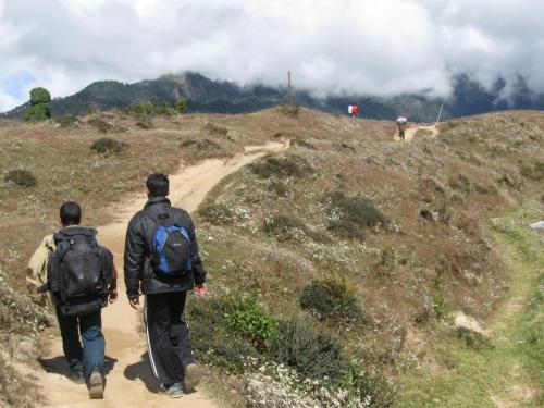 Pastor Ganesh and Bible college student Kaysab, taking me on trek to their mountain churches
